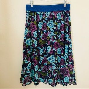 Lularoe Blue Floral Lined Full Flare Skirt M